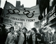 The Gay Liberation Front, pictured here in 1969, formed in response to the Stonewall Riots. Image: PBS