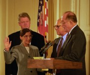 President Bill Clinton stands by as Ruth Bader Ginsburg is sworn in as associate Supreme Court Justice in 1993