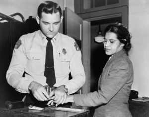 Rosa Parks during her arrest in 1956