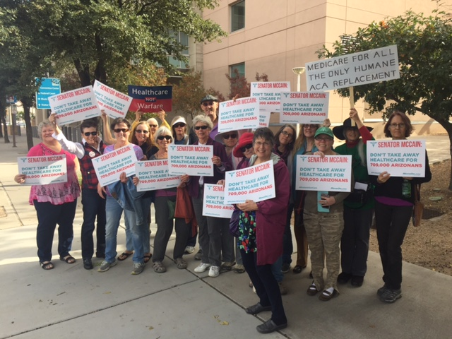 Protesters at Sen. McCain's Tucson office, December 20, 2016.